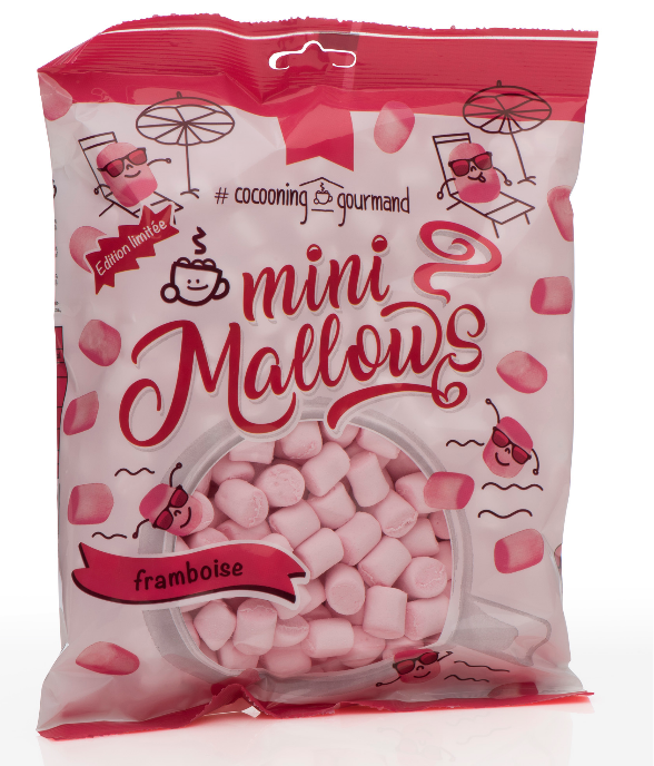 MINIMALLOW RASPBERRY 150 GR.  - MINI MARSHMALLOWS HIMBEER - BY COCOONING GOURMAND